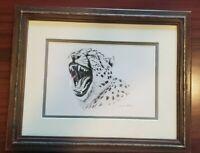 Andrew Bone Original Signed Pencil Drawing Cheetah Roar Confirmed by Artist!!