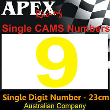 CAMS Window Number 9 Sticker - Single Number 23cm - Race Rally - Dayglo Yellow