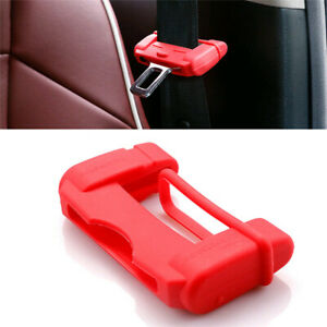 2PC Red Car Seat Belt Buckle Clip Silicone Anti-Scratch Cover Safety Accessories