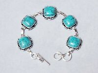 NEW HANDCRAFTED Sterling Silver Bracelet with Turquoise Gemstones