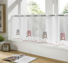 """OWLS RED SILVER WHITE RESTAURANT KITCHEN CAFE CURTAIN DRAPE PANEL 59"""" X 18"""""""