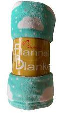 "Girls Soft Plush Flannel Throw Blanket 50""x 60"" Babies Cloud Print Mint Teal"