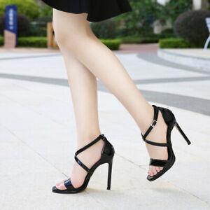 Womens Cross Strap Sandals High Heels Open Toe Sandals Stilettos Casual Shoes