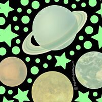 GLOW IN THE DARK REAL PLANETS and STARS Bedroom Ceiling Wall Stickers boys girls