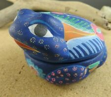 Native American Red Clay Pottery Blue Frog Trinket Box Colorful Hand Painted