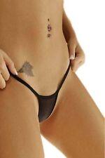 Damen Mini String Tanga Slip minimalistisch schwarz sexy knapp XS S 32 34 36