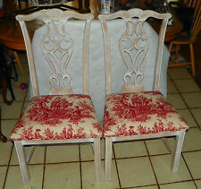Pair of White Distressed Chippendale Side Chairs / Dinette Chairs  (SC28)