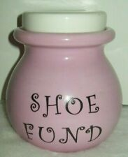 """Cute Pink & White Glass Shoe Fund Bank 4.5"""" Tall Pot Coin Bank Removable Lid"""