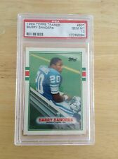 BARRY SANDERS 1989 Topps Traded Rookie Card PSA10 Lions HOF RB Oklahoma State RB