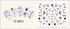 Nail Art Water Decals Transfers Stickers Summer Palm Trees Flamingo Flowers E812