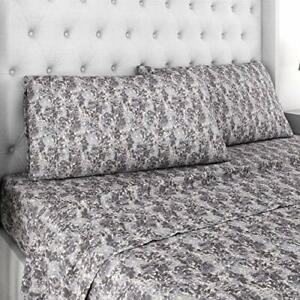 Kathy Ireland Black Water Design-Linen Blend Sheet Set - Queen