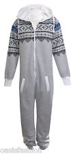 UNISEX MENS PLAIN &AZTEC PRINT ONESIE ZIP UP ALL IN ONE HOODED JUMPSUIT S to 5XL