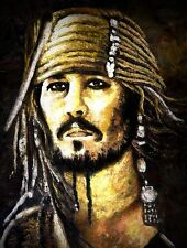 Johnny Depp, in Palette Knife oil painting. Celebrity, Movie, Pirates, Actor