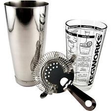 3 Piece Cocktail Shaker Kit- Bar Mixing Recipe Glass Strainer- Bartend Drink Set
