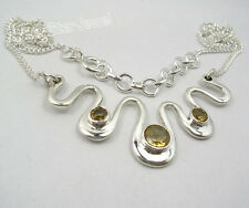 925 Pure Silver Classic YELLOW CITRINE ARTISAN Curb Chain Necklace 17 1/8""