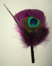 Peacock Hat Pin, Boutonniere, Plum Hat Band, Wedding Accessory, Bridal, NEW