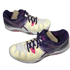 Asics Womens Gel Resolution 6 Tennis Shoes Size 8 White Purple Pink E550Y