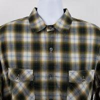 Vince Mens Green Gray Plaid Check Flap Pocket L/S Casual Button Shirt Sz XL