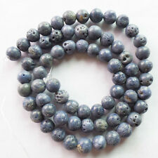 R0073928 Beautiful 6mm Blue Coral Round Ball loose bead 15.5 inch