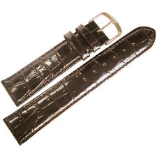 24mm Mens Fluco Brown Crocodile-Grain Leather Made in Germany Watch Band Strap