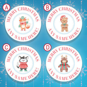 70 x PERSONALISED Christmas Stickers / Christmas Labels Gift Tags Stickers (006)