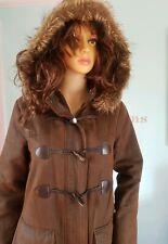 Ladies Womens Dorothy Perkins Duffel coat Jacket Parka Brown Hooded 10 12
