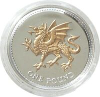 2008 Royal Mint Welsh Dragon £1 One Pound Silver Gold Proof Coin