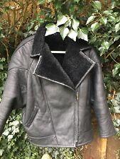 Ladies Black Faux Leather Sheepskin Zipped Flying Aviator Jacket Ch  48 UK 12-14