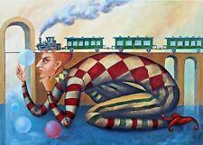 ORIGINAL Oil Painting on canvas CONTEMPORARY ART surrealism Pronkin 2019 BRIDGE