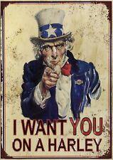 "Harley Davidson 'I WANT' 10x8"" Retro Vintage Metal Advertising Sign Wall Art Pic"