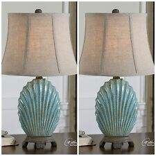 Two New Crackled Blue Gray Finish Table Lamp Linen Shade Ocean Beach Shell Light