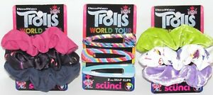 Trolls World Tour 9 Pc Girl's Women's Hair Lot Scrunchies Snap Clips Pink Purple