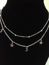 Moon Star Necklace Layered Silver Bead Biker Metal Rock Clubwear Party Zodiac