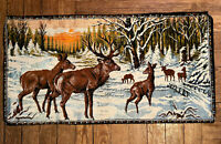 Vintage Tapestry Wall Hanging Rug Elk Buck Stag Deer Lodge Cabin Decor 39 x 20