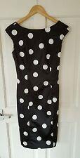 BNWOT £125 Coast Size 8 10 Black White Polka Pencil Wiggle Dress 50s Pin Up