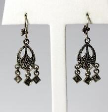 """Beautiful Sterling Silver  Marcasite Chandelier Dangle Earrings 1.5"""" – 10076"""