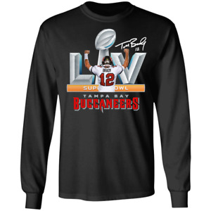 Men's Tampa Bay Buccaneers 12 Tom Brady Super Bowl LV Long Sleeve Shirt