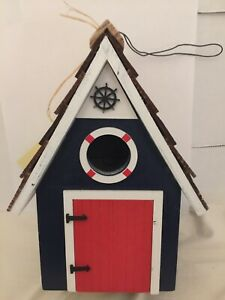 DOCKSIDE CABIN BLUE BIRDHOUSE by HOME BAZAAR ALL WOOD NON TOXIC PAINT