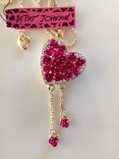 """LOVELY PINK ROSES HEART w/ Charms  28"""" Pendant Necklace Betsey Johnson+"""
