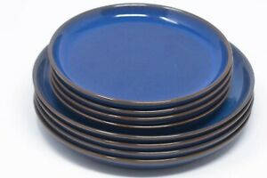 Denby Imperial Blue Stoneware Dinner Coupe Plate Set 26cm and 21cm