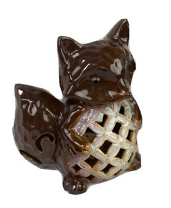 Fox Candle Holder Ceramic Brown Unbranded