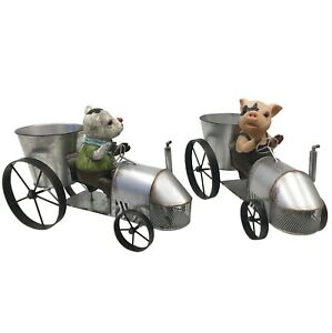 Peggy & Moo on the Tractor Sculpture Home Decor Ornament Figure