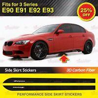 Für BMW E90 E91 3er M Performance Seite Schweller Grafik Aufkleber 3D Kohlefaser