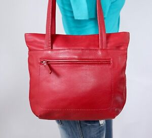 GIANI BERNINI Medium Red Leather Shoulder Hobo Tote Satchel Purse Bag