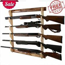 5 Gun and Rifles Wall Mount Firearm Storage Display Rack Holder Rustic Wooden