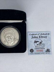 Highland Mint John Elway Denver Broncos Retirement Coin Round Brushed Bronze