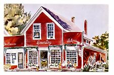 Shelburne Country Store Postcard on Village Green Vermont Red Barn Unposted