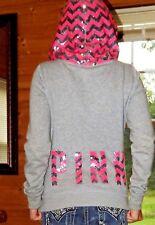 RARE XS Victoria's Secret PINK hoodie zig zag chevron sequin bling gray zip up