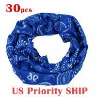 30 x BLUE Tube Scarf Bandana Head Face Mask Neck Gaiter Snood Headwear(us ship)
