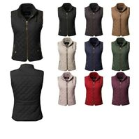 FashionOutfit Women's Casual Solid Suede Piping Detail Quilted Padding Vest